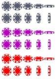 La raccolta di 3D ha colorato i chip del casinò, rotazione del gioco di animazione di vettore Fotografia Stock Libera da Diritti
