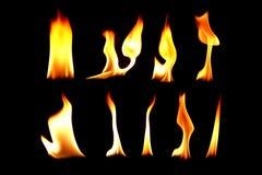 La raccolta di fuoco, falò sulla luce nera del fondo Fotografie Stock Libere da Diritti