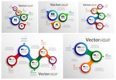La raccolta di infographic variopinto può essere usata per la disposizione di flusso di lavoro, diagramma, opzioni di numero, web Fotografia Stock