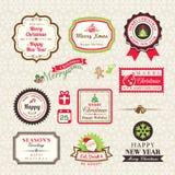 La raccolta di Natale delle etichette e le strutture progettano gli elementi Fotografia Stock Libera da Diritti