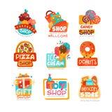 La raccolta di vari modelli di logo dei negozi ha messo, emblema per il mercato del bigné, della caramella, della pizza, del gela Fotografie Stock Libere da Diritti