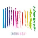 La raccolta di vettore con la spazzola variopinta segna gli elementi Punti della pittura dell'arcobaleno messi Fotografia Stock Libera da Diritti