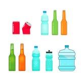 La raccolta di vettore delle bottiglie su bianco, in pieno e svuota Immagini Stock Libere da Diritti