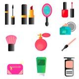 La raccolta di web di compone, cosmetici e oggetti di bellezza messi, con l'illustrazione delle spazzole per i capelli, degli ess illustrazione vettoriale