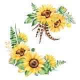 La raccolta floreale con i girasoli, le foglie, i rami, felce va, mette le piume a Immagine Stock