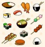 La raccolta giapponese di scarabocchio dell'alimento del fumetto di vettore con il dorayaki di onigiri dei sushi del riso ed il r royalty illustrazione gratis