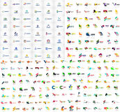 La raccolta mega dei modelli astratti geometrici di logo, origami incarta le icone di affari di stile con il testo del campione V Fotografia Stock