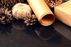 La raccolta naturale degli oggetti per handcraft (carta, pino e c attillata Fotografia Stock
