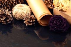 La raccolta naturale degli oggetti per handcraft (carta, pino e c attillata Immagine Stock