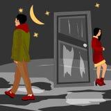 La ragazza è triste, il tipo è andato via di casa royalty illustrazione gratis