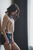 La ragazza ad una parete 1989 Fotografia Stock Libera da Diritti
