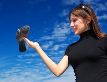 La ragazza alimenta la colomba Immagini Stock Libere da Diritti
