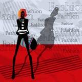 La ragazza alla moda con una borsa Fotografia Stock Libera da Diritti