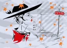 La ragazza alla moda a Parigi Fotografia Stock Libera da Diritti