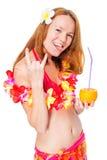 La ragazza allegra in bikini mostra la mano di gesto su bianco Immagini Stock Libere da Diritti