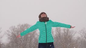 La ragazza allegra prende i fiocchi di neve, nel parco dell'inverno sul Natale weekend Bella ragazza che gioca nel legno in forte stock footage