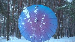 La ragazza apre un ombrello nella foresta della neve stock footage