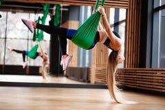 La ragazza atletica con capelli biondi lunghi vestiti nei vestiti di sport sta facendo la forma fisica sulla seta aerea verde in fotografia stock