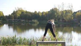 La ragazza attraente che inala e che esala facendo l'yoga allunga in un parco un bello giorno di estate - archivi video