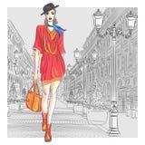 La ragazza attraente di modo di vettore va per St Peters royalty illustrazione gratis