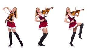 La ragazza bavarese che gioca il violino isolato su bianco Immagini Stock Libere da Diritti