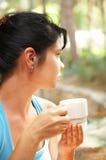 La ragazza beve il caffè Immagine Stock Libera da Diritti