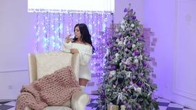 La ragazza beve il champagne vicino all'albero di Natale stock footage