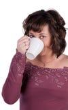 La ragazza beve il tè Immagini Stock Libere da Diritti