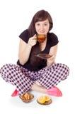 La ragazza beve il tè Fotografie Stock Libere da Diritti