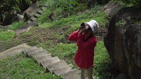 La ragazza cammina attraverso il parco tropicale e prende le immagini della bellezza del video del metraggio delle azione della n stock footage