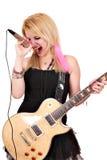 La ragazza canta Immagine Stock