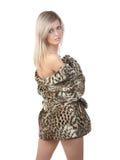 La ragazza in cappotto di pelliccia Fotografia Stock