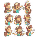 La ragazza in cappuccio, il girocollo e la raccolta superiore blu delle emozioni differenti disegnate a mano raffreddano i ritrat illustrazione di stock