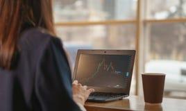 La ragazza castana guarda il grafico di caduta di scambio sul computer portatile Fotografie Stock Libere da Diritti