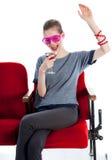 La ragazza caucasica attraente nei suoi 30 ha sparato in studio Fotografie Stock Libere da Diritti