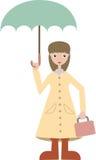 La ragazza che va al banco porta il lunchbox dell'attrezzo della pioggia Immagine Stock