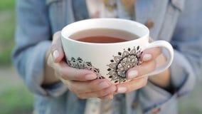La ragazza con capelli lunghi tiene una tazza di tè in sue mani contro i precedenti vaghi della natura Donna graziosa in rivestim archivi video