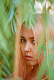 La ragazza con capelli rosa cammina nel parco Immagine Stock Libera da Diritti