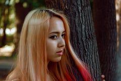 La ragazza con capelli rosa cammina nel parco Fotografia Stock