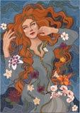 La ragazza con capelli rossi bagna nel fiume fotografia stock libera da diritti