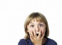 La ragazza con cosegna la bocca Fotografia Stock Libera da Diritti