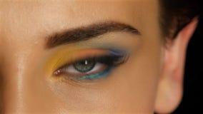 La ragazza con gli occhi di gray con bello compone i sembrare che affascinano per esaminare la distanza Fine in su video d archivio