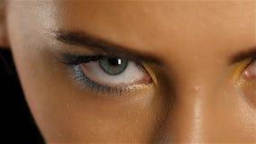 La ragazza con gli occhi di gray con bello compone i sembrare che affascinano per esaminare la distanza Fine in su Movimento lent archivi video