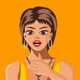 La ragazza con i capelli di scarsità su un fondo giallo mostra che il gesto tutto è benissimo illustrazione di stock