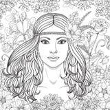 La ragazza con i fiori ha contornato l'immagine Fotografie Stock