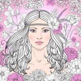 La ragazza con i fiori ha contornato l'immagine royalty illustrazione gratis