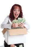 La ragazza con i grandi soldi Fotografie Stock