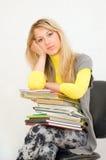 La ragazza con i libri Fotografia Stock