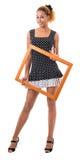 La ragazza con il blocco per grafici della maschera fotografie stock libere da diritti