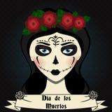 La ragazza con il calavera del cranio dello zucchero compone Giorno messicano dell'illustrazione morta di vettore Fotografia Stock